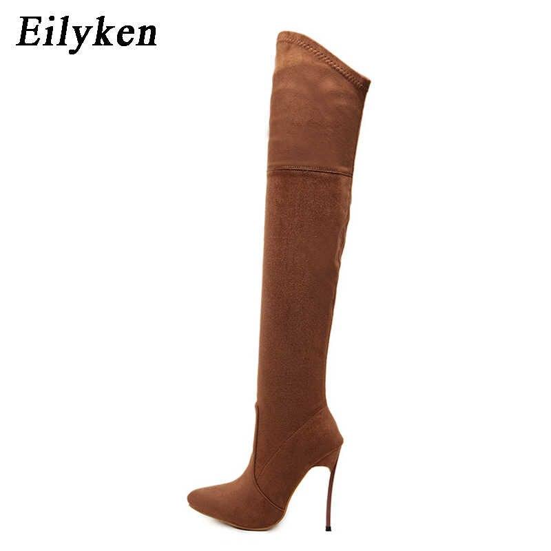 Eilyken 2019 automne hiver femmes bottes Stretch mince cuissardes mode sur le genou bottes talons hauts chaussures femme Sapatos