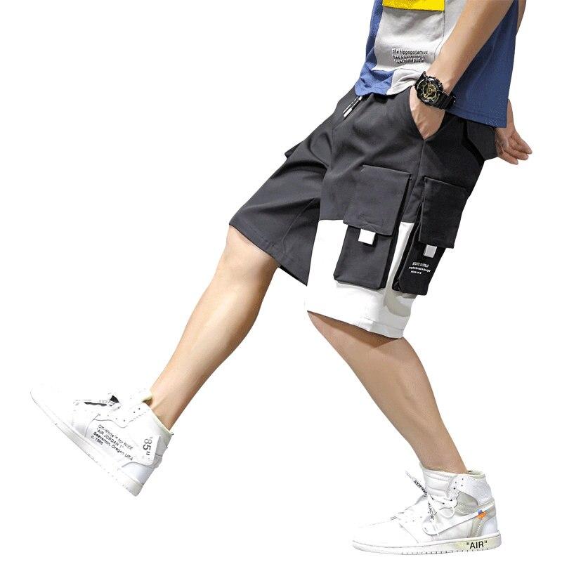 Harajuku Cargo   Shorts   Men Pocket Casual Patchwork Tatical Military   Short   Pants Knee-Length Hip Hop Male   Short   Jogger Streetwear