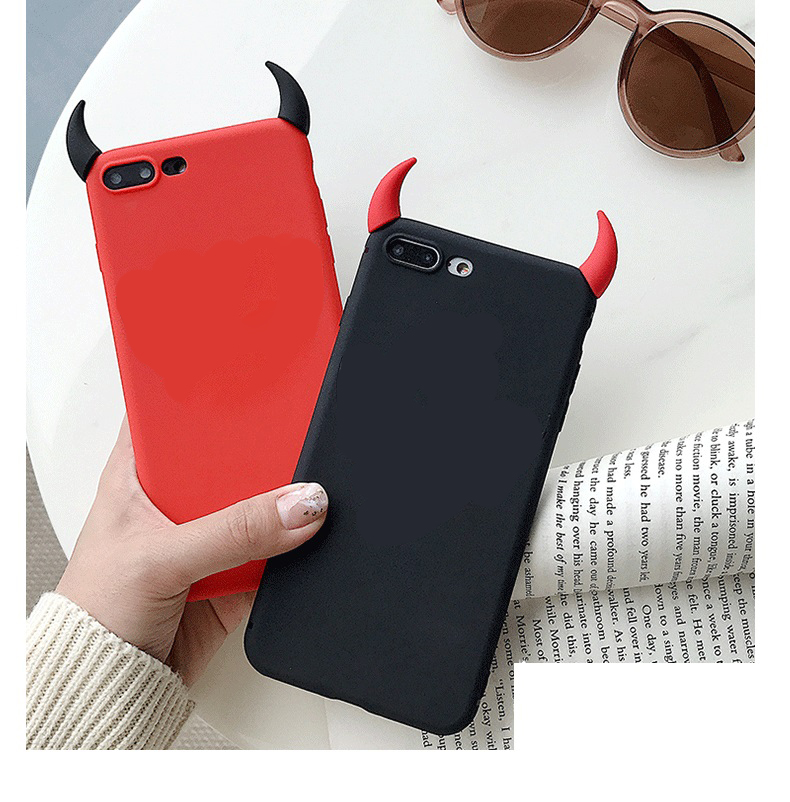 Soft Silicone <font><b>Case</b></font> Devil Horns Demon Angle Cover for <font><b>Huawei</b></font> Y3 <font><b>Y5</b></font> Lite Y6 II Y7 Prime Y9 2017 2018 <font><b>2019</b></font> Fundas Phone <font><b>Cases</b></font> image