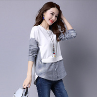 2017 Spring Blouses Shirt Female Long Sleeve Casual Striped Patchwork Fake Two Pieces Women Blouses Loose