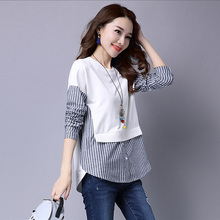 2017 Spring Blouses Shirt Female Long Sleeve Casual Striped Patchwork Fake Two Pieces Women Blouses Loose Plus Size Lady Tops
