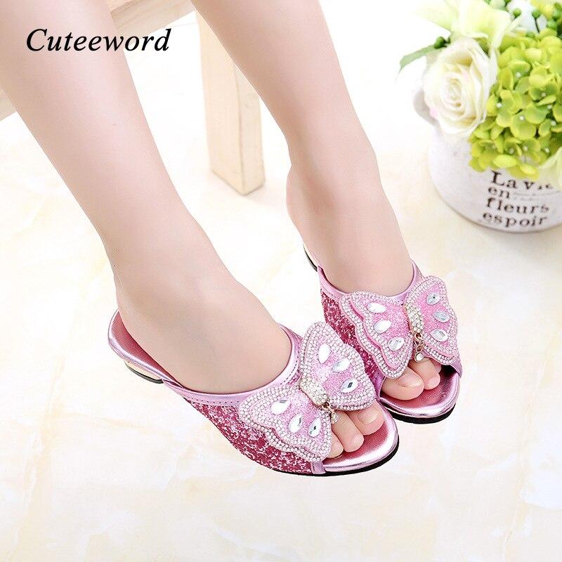 Children's Shoes Girls High Heels Kids Sandals Fish Mouth Shoes Non-slip Sequins Princess Shoes Bow-tie Kids Girls Sandals