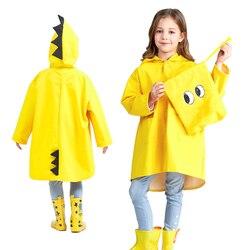 Bonito pequeno dinossauro à prova dwaterproof água crianças casaco de chuva poliéster menino crianças meninas do jardim infância estudante do bebê casaco anti chuva