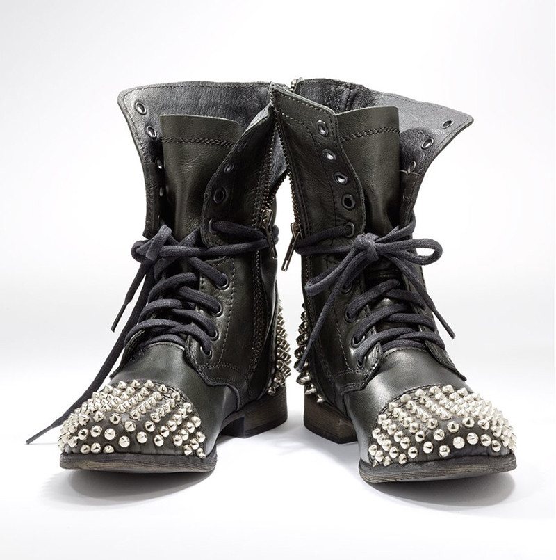 bc5b7444887 Women Combat Boots Black 2018 Flat Rivets Ankle Boots Cool Girl Studs  Booties Lace Up Punk Shoes Rocker Boots