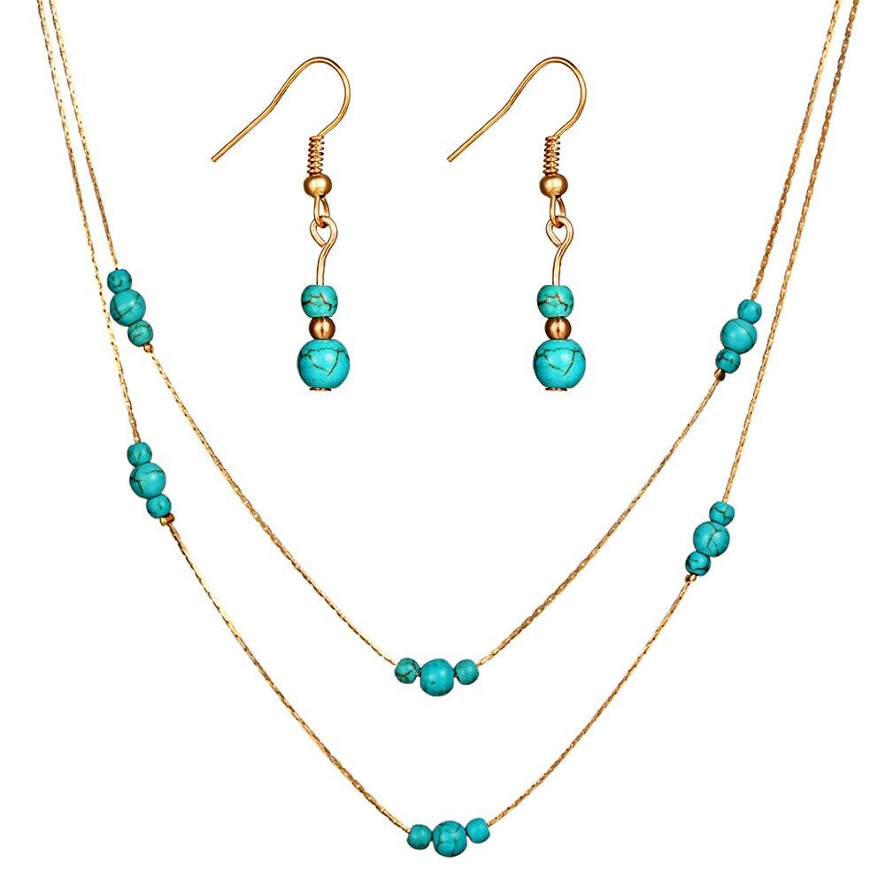 LE SKY Retro jewelry set round  multi-layer necklace  set female