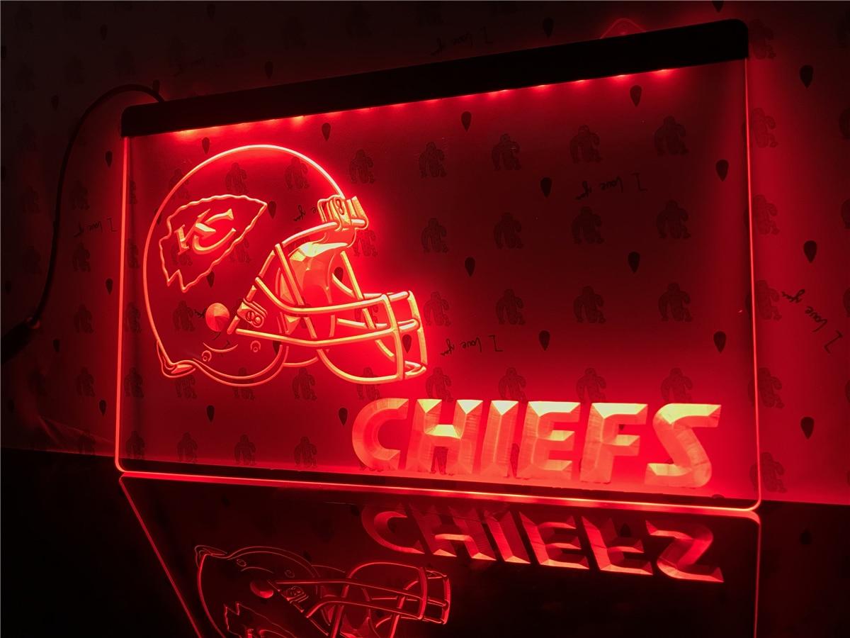 B324 Kansas City Chiefs Helmet Nr Bar Led Neon Light Sign In Plaques