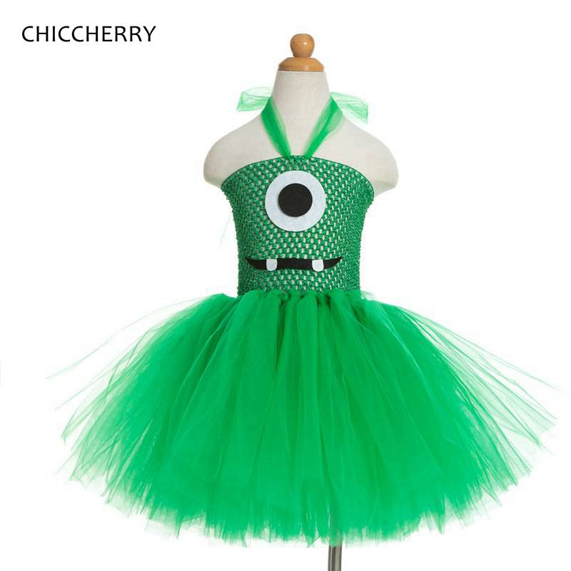 Green Children Halloween Cosplay Outfits Despicable Me Summer Kids Party Lace Tutu Dress Vestidos De Verano Baby Girl Clothes devil may cry 4 dante cosplay wig halloween party cosplay wigs free shipping