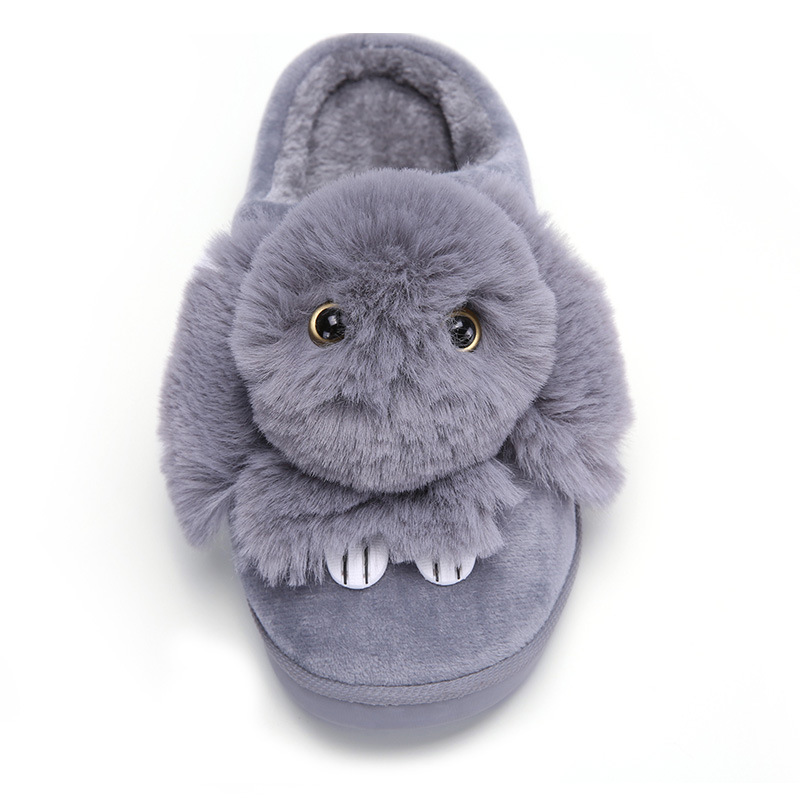 Women Winter Home Slippers Ladies Rabbit Animal Prints Fur Warm Slides Indoor Soft Casual Shoes for Women Sandals Plus Size 2