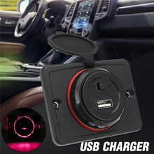 1Pcs Car Truck USB Charger 5V LED Light USB Socket Charger P