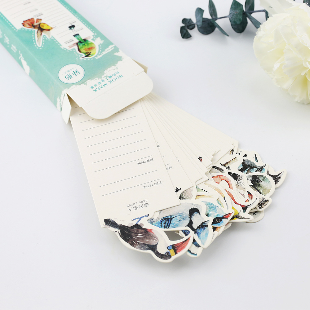 30 PCS Creative Nature's Poems Bookmark Paper Cartoon Animals Card Lover Bookmark Promotional Gift Stationery Film Bookmark