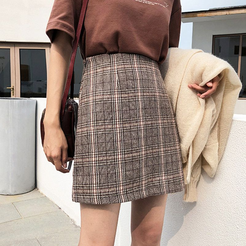 2019 Casual Skirt Women's High Waist Plaid Skirt Woolen Skirt Short Skirt