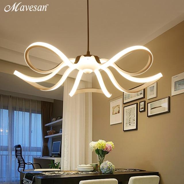 Modern Flower Led Pendant Lights Kitchen Acrylic Metal Suspension Hanging Ceiling Lamp For Dinning Room