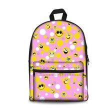 купить FORUDESIGNS Smile Emoji Face Printed School Bag,Pink Big Schoolbags For Teenagers Girls,Korean Style Canvas Women Travel Satchel дешево