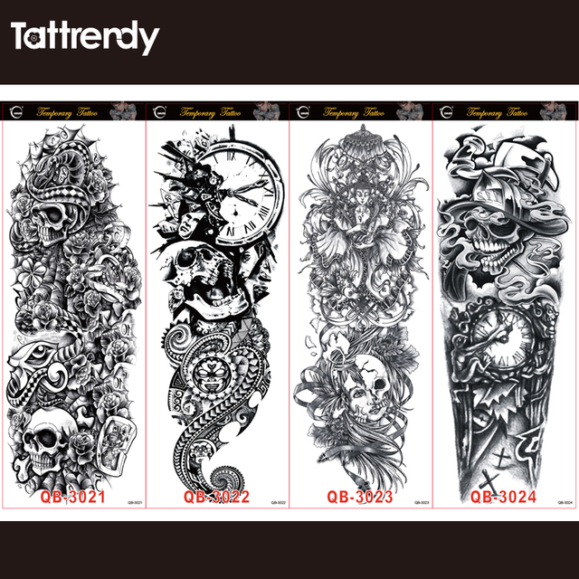 6pcs/lot Full Arm Temporary Tattoos Stickers For Men Women Black Death Skull Note Super Big Large Waterproof Fake Tattoo Sleeves