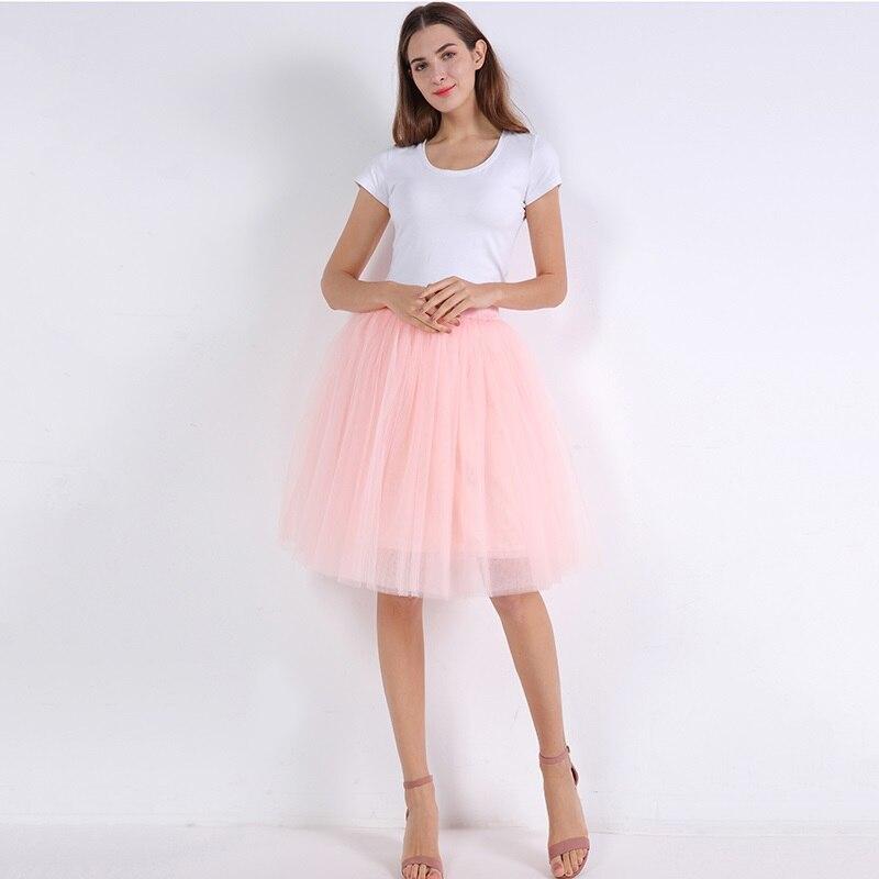 5 Layers 60cm Princess Midi Tulle Skirt Pleated Dance Tutu Skirts Womens Lolita Petticoat Jupe Saia faldas Party Puffy Skirts 20
