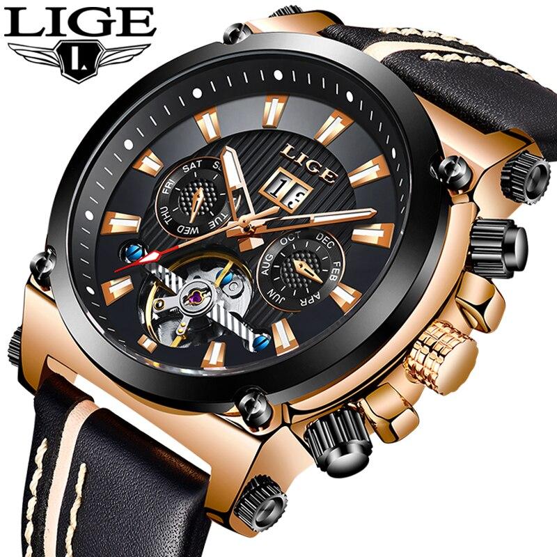 LIGE Top Esporte Marca de Luxo Mecânico Automático Relógio Masculino de Couro À Prova D' Água Relógios Homens de Negócios relógio de Pulso Relogio masculino