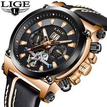 LIGE العلامة التجارية الفاخرة الرياضة التلقائي ساعة ميكانيكية الذكور الجلود مقاوم للماء ساعات الرجال الأعمال ساعة اليد Relogio Masculino