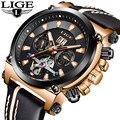 Lige top бренд класса люкс Мужские автоматические механические часы с кожанным Водонепроницаемый часы мужские деловые наручные часы Relogio Masculino