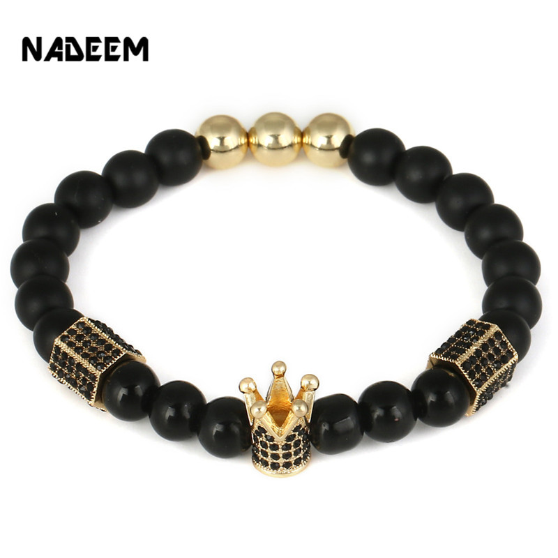 NADEEM Wholesal Micro Pave CZ Imperial Crown Charm Bracelets Men Natural Matte,Onyx Stone Bead Bracelet For Women Men Jewelry