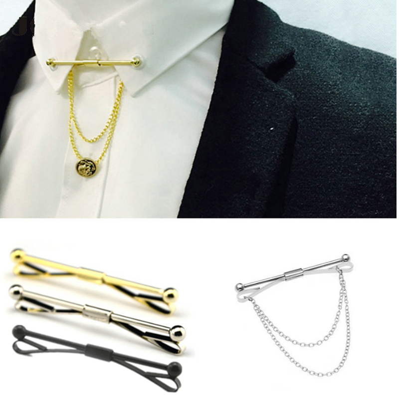 3 color silver / black / gold New Collar Pin Tie Clips Men