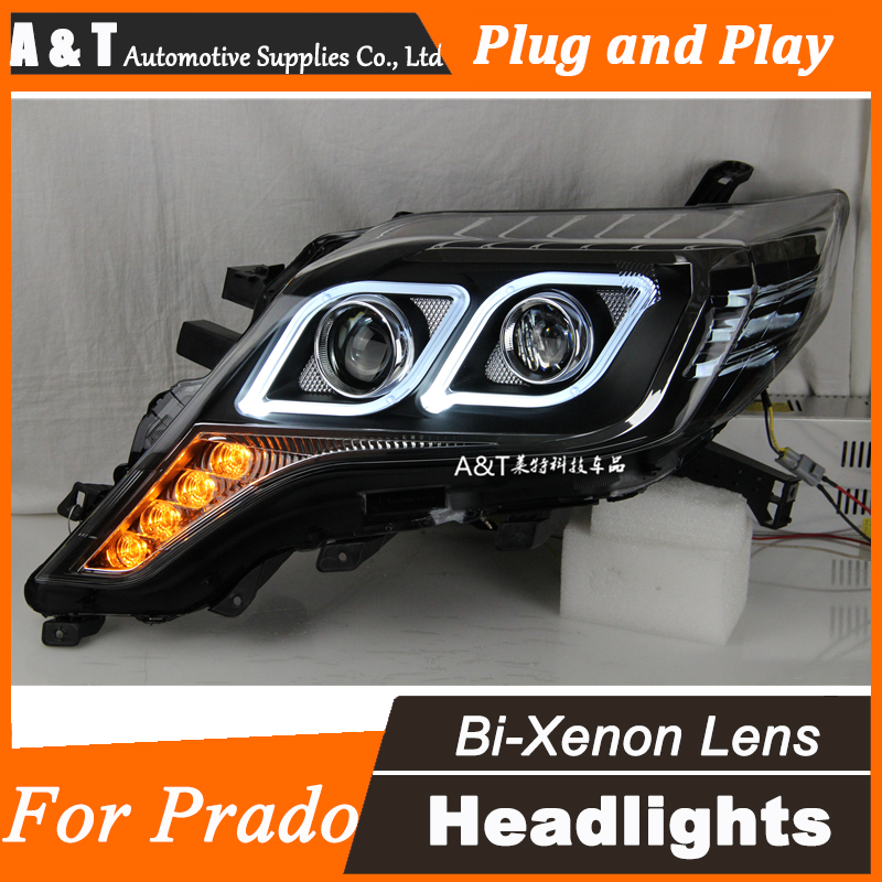 A T Car Styling for Toyota Prado LED Headlights 2013 2014 New Prado DRL Lens Double