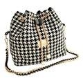 Mulheres Houndstooth TEXU cadeias saco balde de moda saco de retalhos de lona saco do mensageiro saco de ombro Preto e branco grade