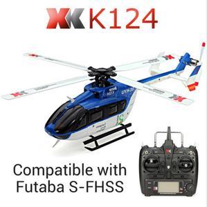 Бесщеточный двигатель XK K124 EC145 6CH, 3D 6G система, Радиоуправляемый вертолет, совместимый с FUTABA S-FHSS RTF VS Wltoys V977