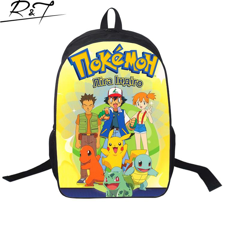 2016 Fashion 3D Printing Backpack 16 Inch Pokemon School Bag High Quality  Cute Cartoon Bag For Kids Popular Game Backpack-in School Bags from Luggage    Bags ... d5bb4ef748