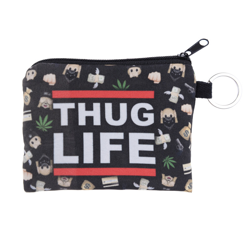 Thug life design New Women Coin Purses Cute Girl Mini Bag Key Ring Case Zipper Wallet Lovely Pouch Change Purse wholesaleCP4033 fashion women coin purses dots design mini girl wallet triple zipper clutch bag card case small lady bags phone pouch purse new