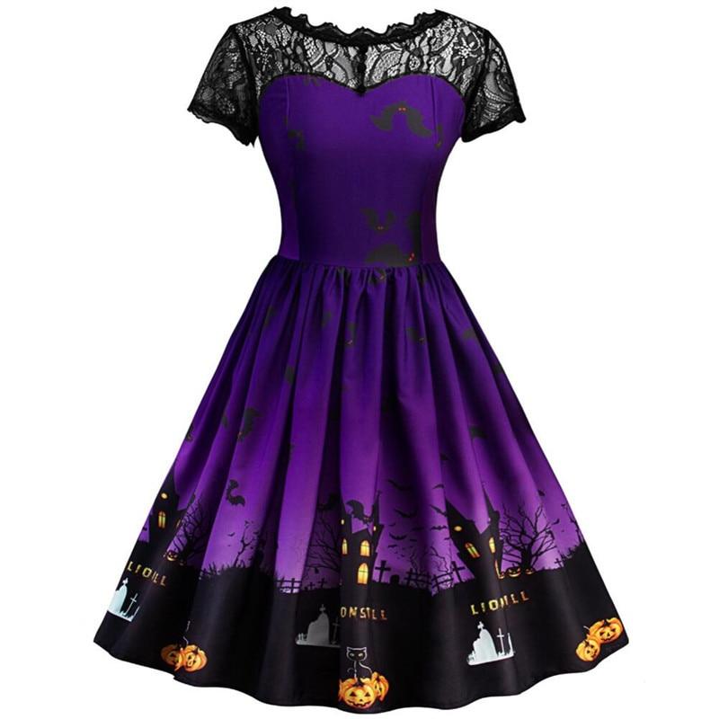 Lace Panel Halloween Pumpkin Castle Print Vintage Dress Women Rockabilly Haunted Party Dresses costumes