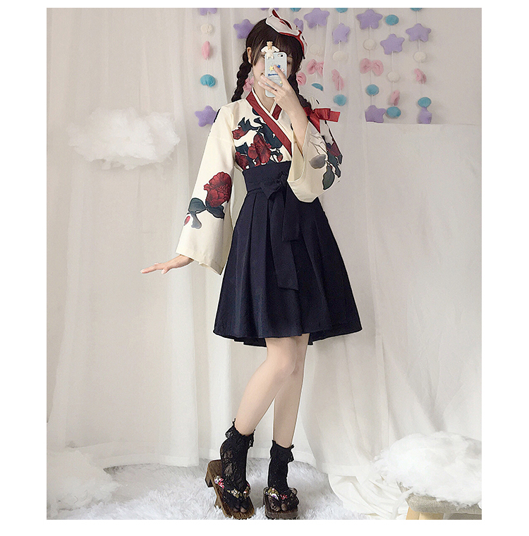 Girls Japanese Style Retro Kimono Floral Long Sleeve Woman Party Dress Summer Fashion Outfits Top Bow Skirt Haori for Female 17