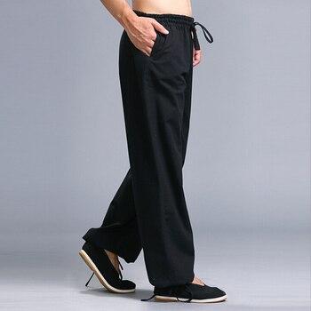 Men Kung Fu Tai Chi Uniform Pantalon Homme Men\'s Casual Pants Elastic Waist Drawstring Straight Leg Trousers Pants 2