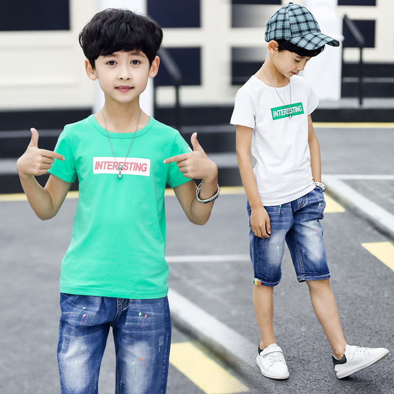 FYH Summer Kids Clothing Set Boys Short Sleeve T-shirt+Denim Pants Children Letter Printed T-shirt+Pants 2pcs Boys Clothes Suit 2017 new summer boys clothes short t shirt pants 2pcs children clothing set casual kids suits for toddler boys page 8 page 4