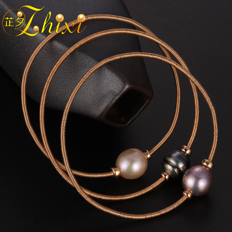 ZHIXI Pearl Jewelry Baroque Pearl Bracelets 9K Gold Jewelry Natural Stone Charm bracelets For Women Party Gift EB227 1pcs lot df3687fpvh8 3687 df3687fpvh8