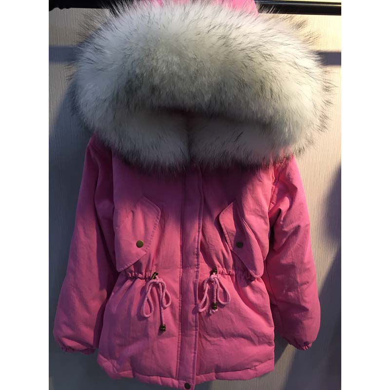 Schinteon invierno mujer cálida chaqueta con gran 100% Real Natural piel de mapache cuello capucha abrigo grueso cintura ajustable-in Plumíferos from Ropa de mujer    3