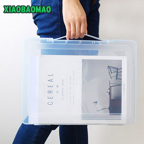 Newest! A4 File Storage Box Clear Plastic Document Case Desk Paper Organizers Large-capacity file box student school stationery comix mc 55 a4 practical plastic file box information boxes document files box storage cases paper organizer office supplies