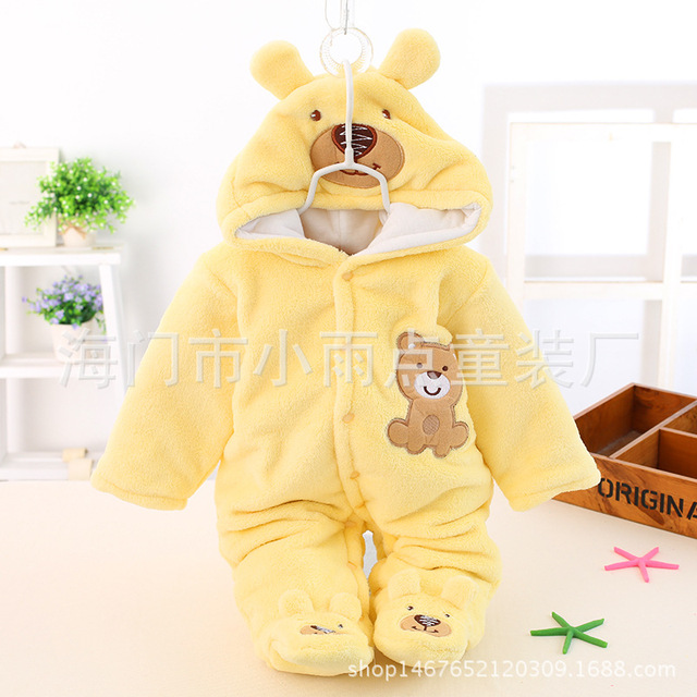 Bonito do Inverno do Outono do Algodão Poliéster Romper Do Bebê Manga Comprida Macacão Com Capuz Macacão Infantil com o Logotipo Do Urso de Uma Peça para Toodler