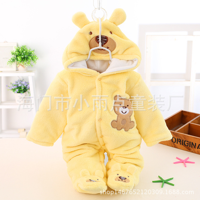 Cute Autumn Winter Cotton Polyester Baby Romper Long Sleeve Coverall Hooded Infant Jumpsuit with Bear Logo One Piece for Toodler auro mesa christmas baby romper elk print jumpsuit cotton infant coverall outerwear baby boys hooded one piece clothes