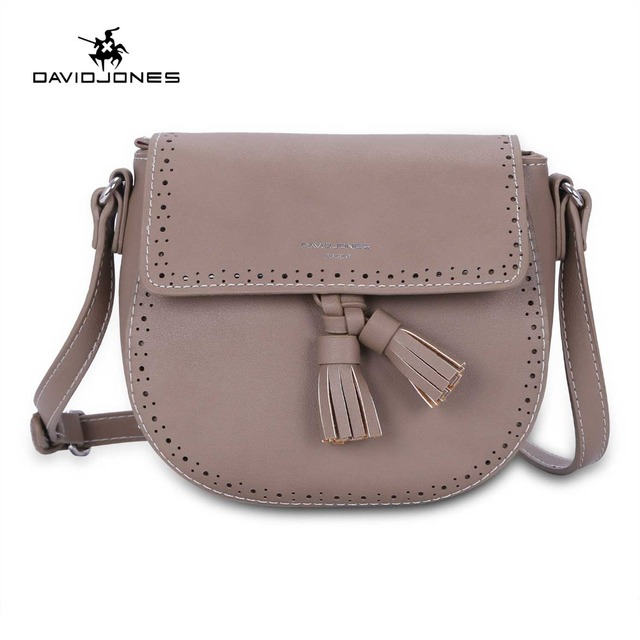 c4b671e3b495 DAVIDJONES women shoulder bags pu leather female messenger bags small lady  tassel handbag girl brand crossbody bag drop shipping