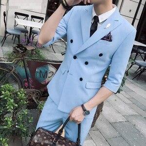 Image 5 - Tpsaade 패션 남자 2 조각 여름 더블 브레스트 화이트/레드/그레이/블루 슬림 맞는 짧은 재킷 웨딩 파티 드레스 신랑