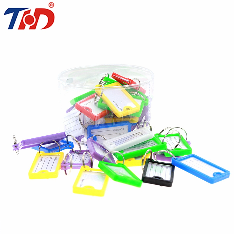 THD 36pcs Colorful Plastic Key Tags Metal Ring Luggage ID Card Name Label Tag Keychain Classification With Split Ring