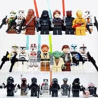 JUNOGO Lepine 24pcs Lot Star Wars Yoda Obi Wan Darth Vader BB8 Starwars 7 Building Blocks