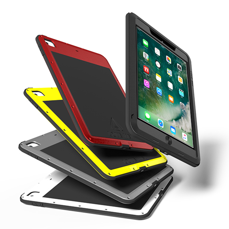 For New iPad 9.7 2017 Case,Love Mei Powerful Shockproof Aluminum Case Cover Strong For New 9.7 iPad Case Gorilla Toughened Glass