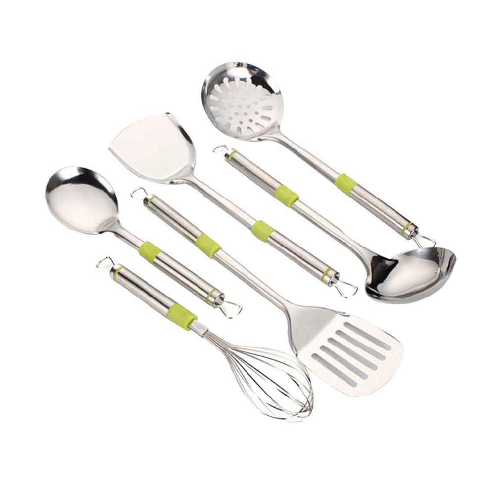 7Pcs/Set Stainless Steel Spatula Heat resistant Soup Spoon Special Cooking Shovel Kitchen Tools - 2