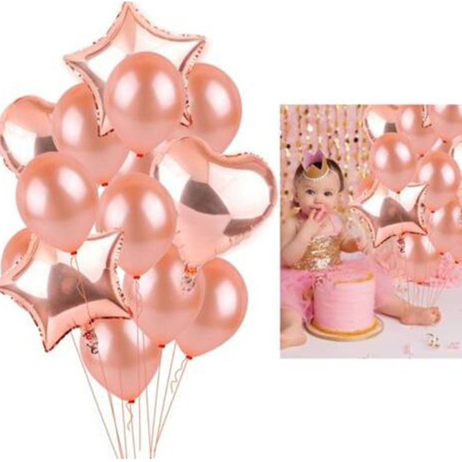 Rose Gold Star Heart Foil Balloons Sets Air Wedding Decoration Helium Balloon Happy Birthday Party Decoration Kids Baby Shower
