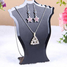 Jewelry Display Stand Pendant Necklace Chain Holder Earring Bust Display Stand Showcase Rack Black Showing Packaging Display