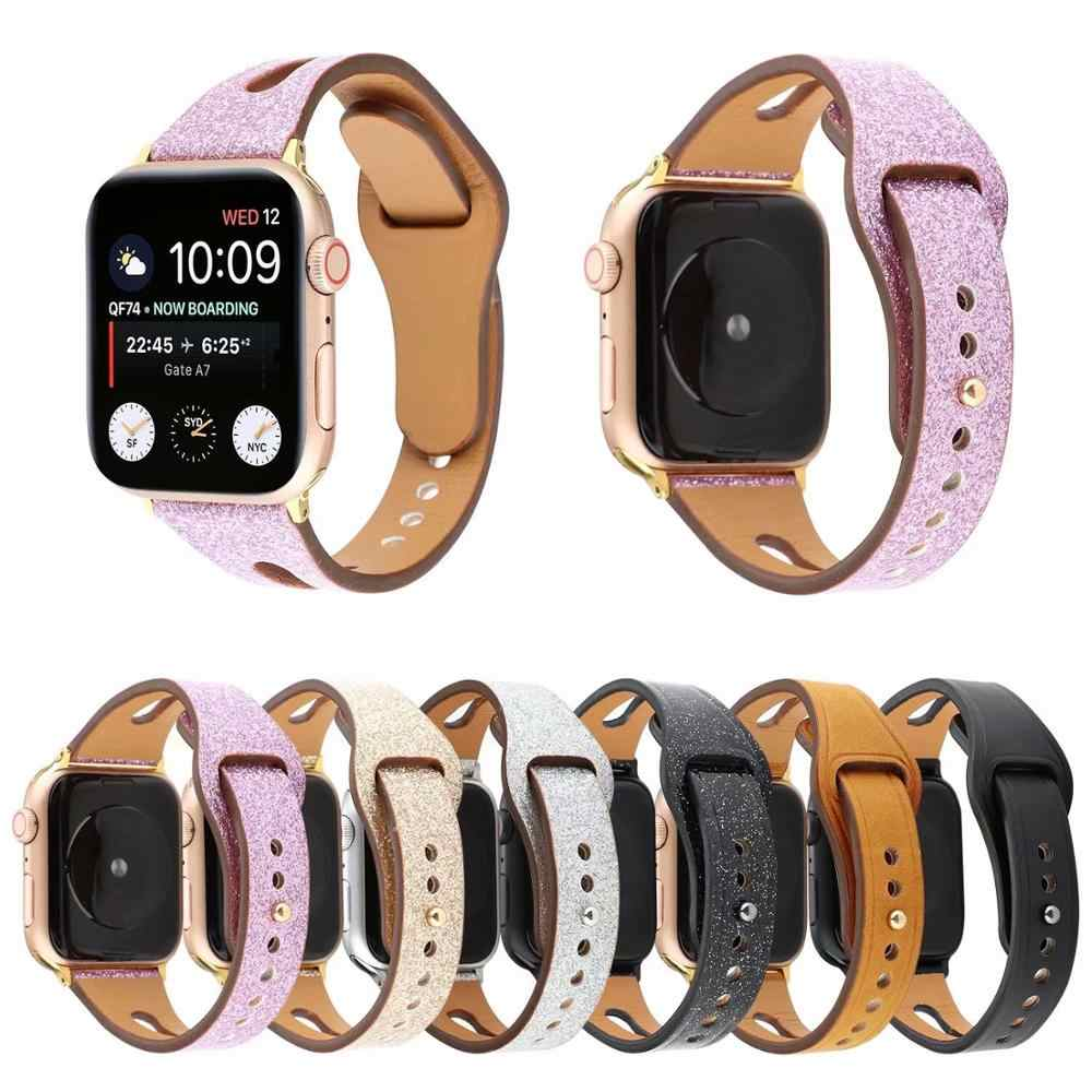 Brown Leather loop band for Apple watch 38mm 42mm series 3 2 1 Women Men strap for iwatch 4 44mm 40mm Wrist bracelet