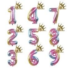 1pc Rainbow Aluminium Foil Number Balloons 0-9 Birthday Party Anniversary Decor Globo Kids figure Air Ball Supplies