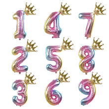 1set Rainbow Aluminium Foil Number Balloons 0-9 Birthday Party Anniversary Party Decor Globo Kids figure Air Ball Supplies(China)