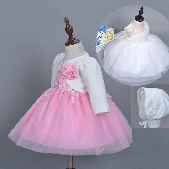 (3 Pcs Suit) Newborn Baby Girl Wedding Dress Baptism Christening Gowns Pageant Dress With Hat Cardigan Infant Princess Dress